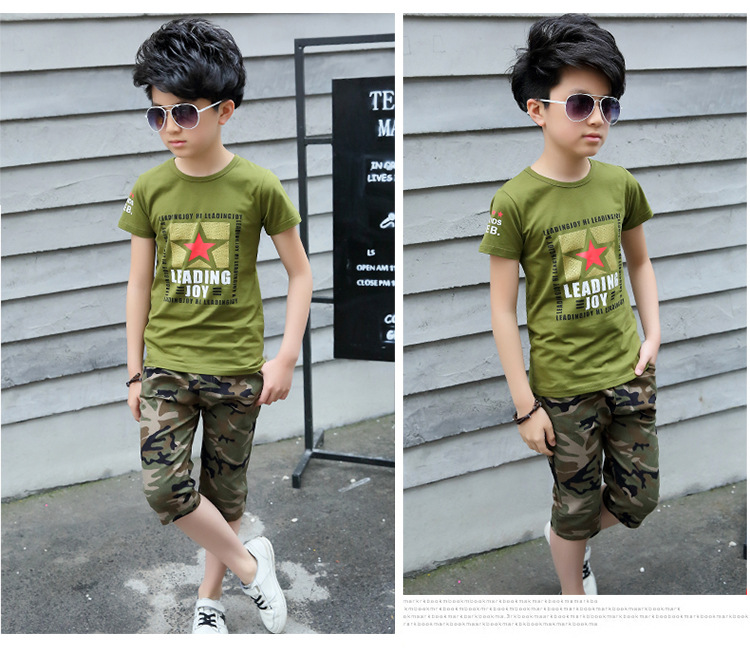 Boys Clothing Sets 4-12 Years old Children Cotton T shirts And Pants Camouflage Suit Casual Clothing Kids Summer Clothes set teenage girls clothes sets camouflage kids suit fashion costume boys clothing set tracksuits for girl 6 12 years coat pants