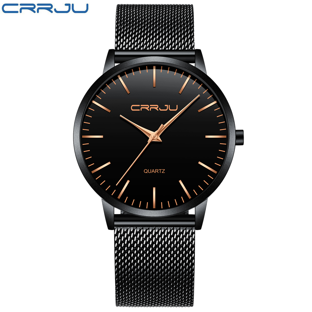 2019 Business Mens Watches Top Brand Luxury CRRJU Men Quartz WristWatch Male Ultra Thin Mesh Strap Clock Reloj Extraplano Hombre