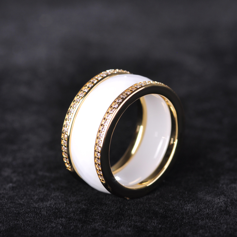 Madrry White Black Wide Ceramic Rings Women Man Silver Gold Color Wedding Aros Masculino Mujer Polished Anillos Gioielli