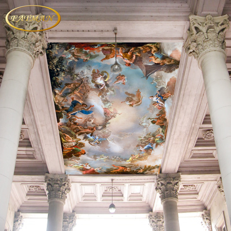 Custom 3d mural wallpaper ceiling wallpaper Hotel Greek mythology mural wallpaper for walls 3d angel wallpaper