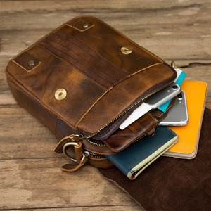"Image 5 - Quality Leather Male Casual Design Shoulder Messenger bag Cowhide Fashion Cross body Bag 8"" Tablet Tote Mochila Satchel bag 152"