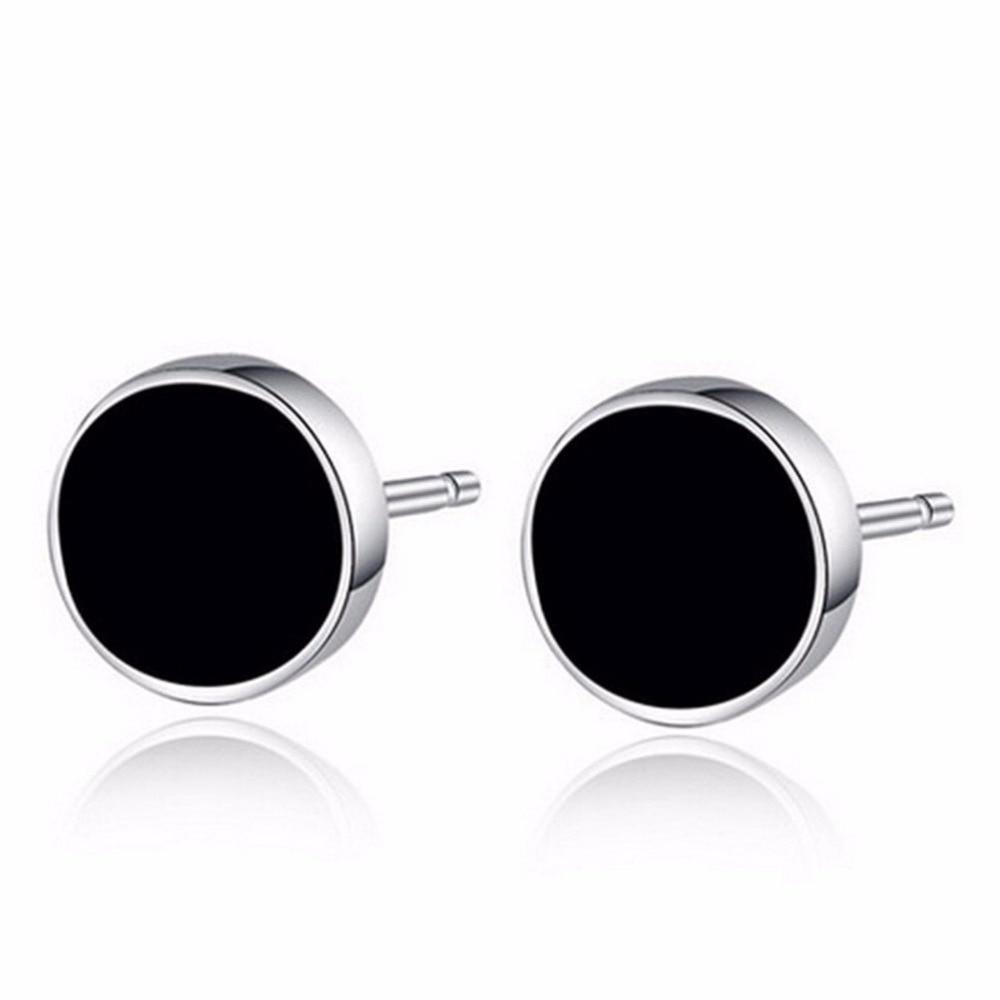 New 2pcs Round Ear Stud Men Black Plastic Metal Punk Style Men Stud Earrings  Ear Jewelry