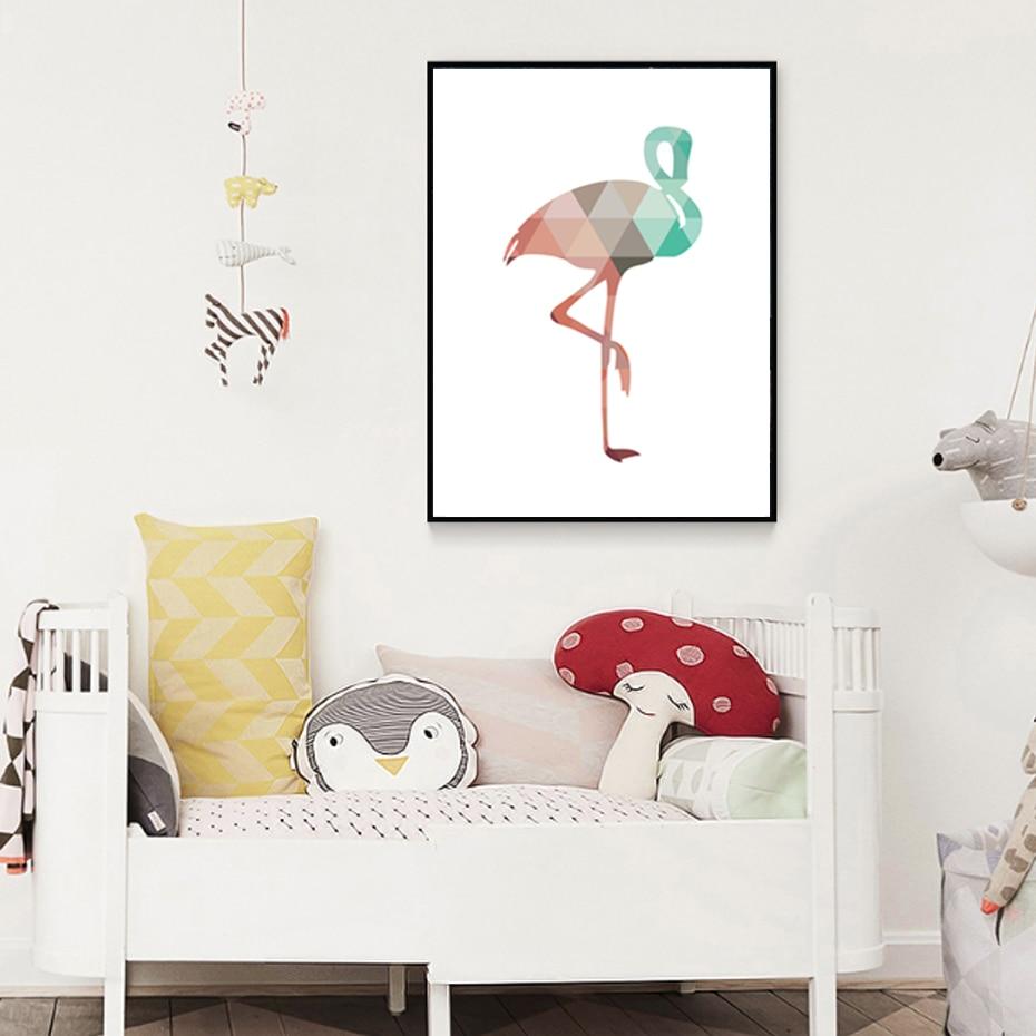 Peindre Triangle Sur Mur €5.89 10% de réduction|sure life flamingo géométrique triangle pépinière  mur art peinture sur toile nordique affiche impression enfants chambres  décor