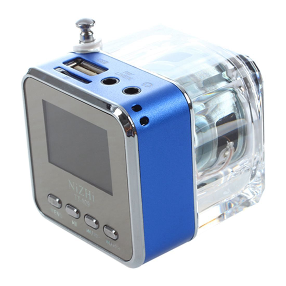 NIZHI Mini Speaker LED SD / TF MP3 player speaker FM USB Sound Station Music Box Colours: Blue