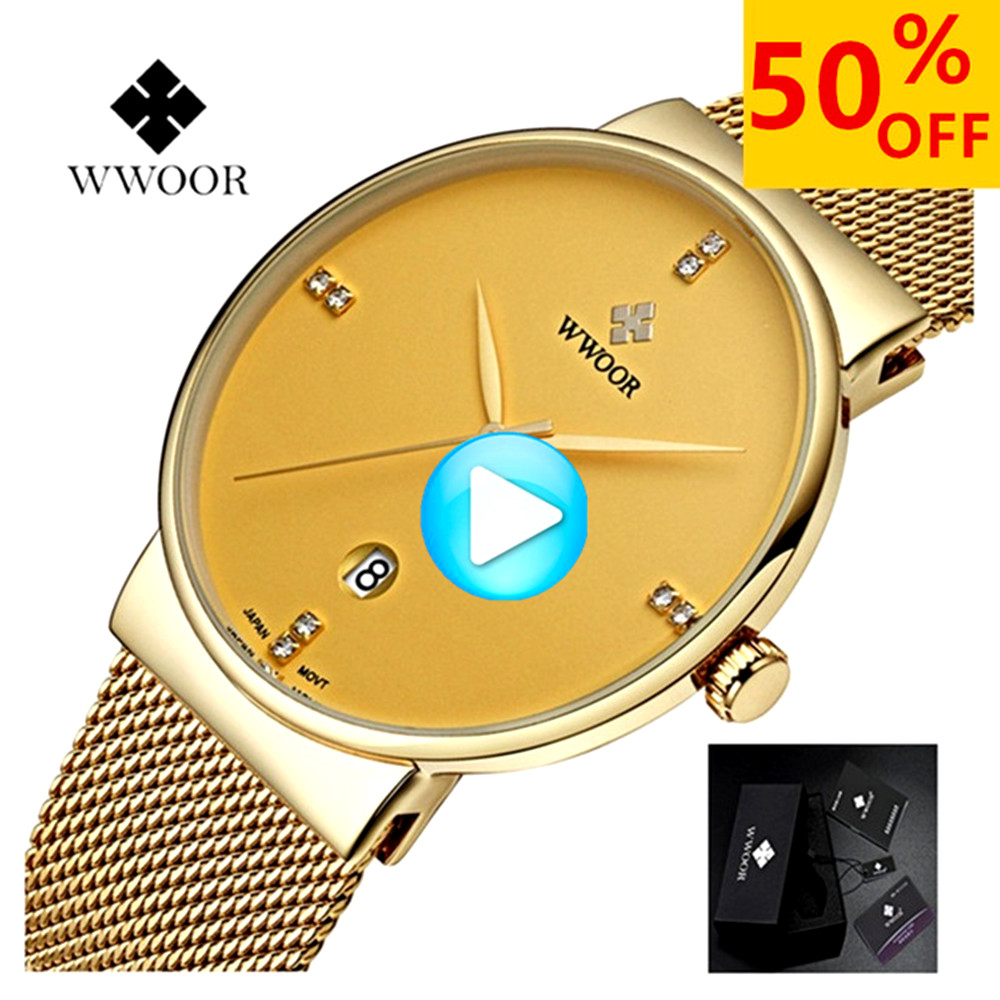 WWOOR Quartz Watch Men Fashion Stainless Steel Business 50m Waterproof Calendar Watch Male Wrist Black Watches relogio masculino