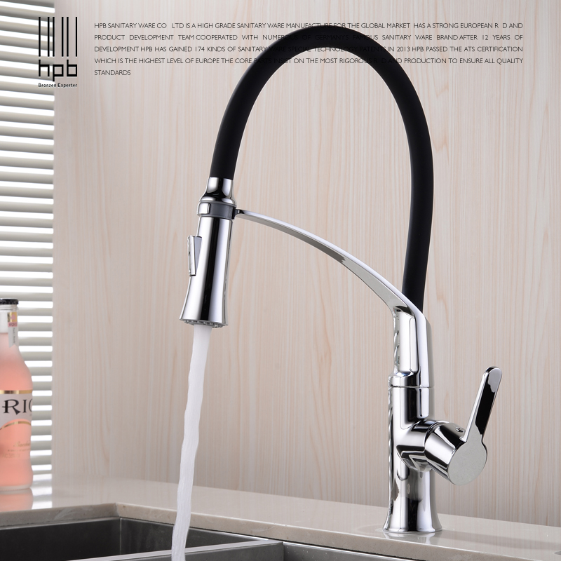 HPB Polished Chrome Flexible Pull Out Kitchen Faucet Sink Mixer Tap Single Handle Hot Cold Water Taps 360 Degree Rotation HP4A19 newly arrived pull out kitchen faucet gold chrome nickel black sink mixer tap 360 degree rotation kitchen mixer taps kitchen tap