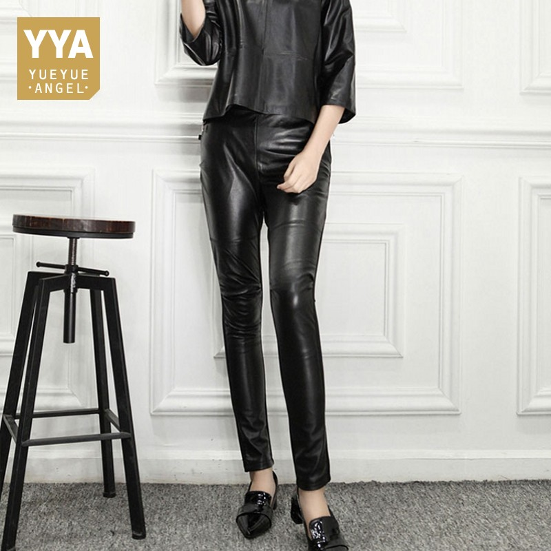 S 4XL Autumn Genuine Leather Pants Women Slim Skinny Pants Office Lady Sexy Pencil Pants Female