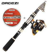 DAGEZI Telescopic Fishing Rod Combo Full Package 1.8-3.3M Carbon Fiber Telescopic Fishing Rod + Spinning Reel with Fishing Line