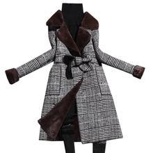 plus size 2XL women autumn winter woolen coat 2019 new velvet thickening plaid slim wool blends coat