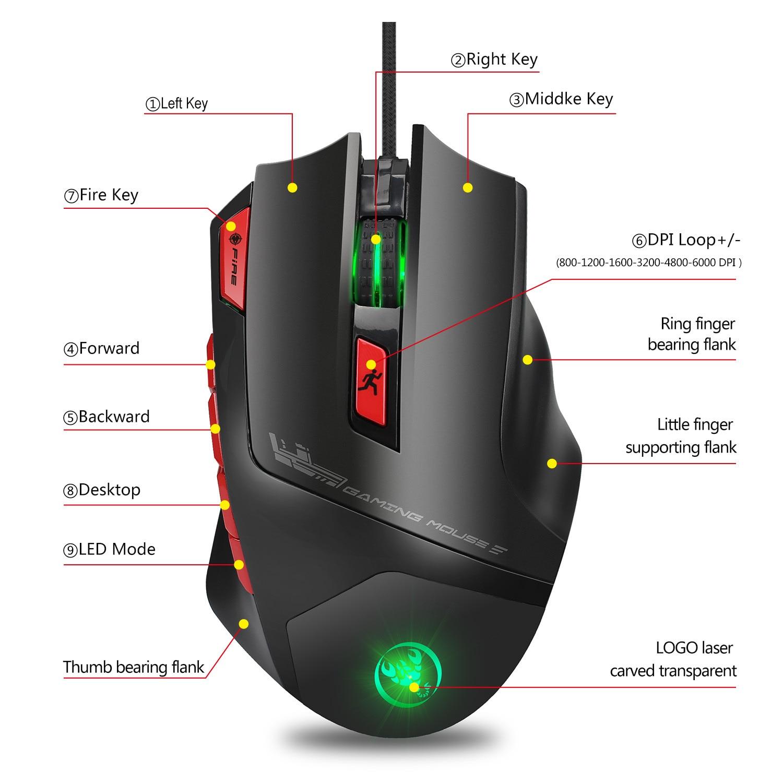 Hongsund Programmable Gaming Mouse 9 key illuminable mouse up to 6000 dpi RGB Backlit USB Wired Optical Gamer