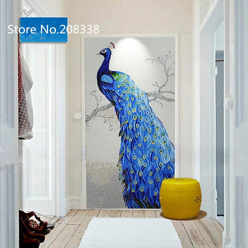 Pavão Azul Mosaico De Vidro Telha Arte Pintura Mural Da Parede Em Adesivos  De Parede De Home U0026 Garden No AliExpress.com | Alibaba Group
