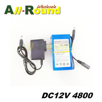 Bezpłatny Statku Lipo Akumulator Przenośny 4800 mAh DC 12 V 12.6 V Super Akumulator Pack UE/US podłącz adapter do kamery CCTV wideo recorde