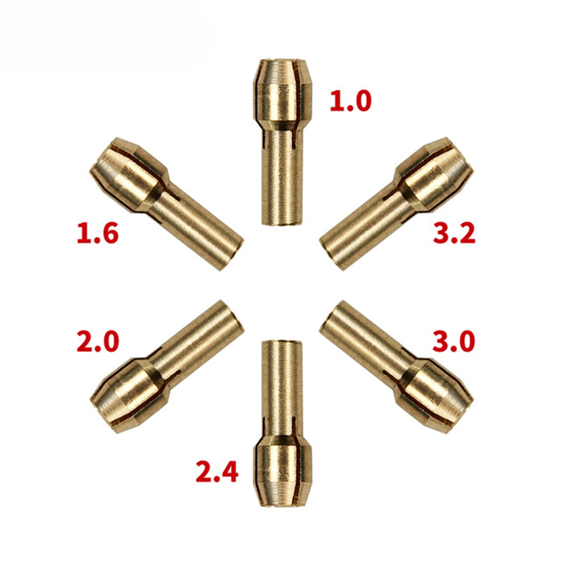 1.0/1.6//2.0/2.4/3.0/3.2mm 6 Pieces Mini Drill Brass Collet Chuck For Dremel Rotary Tool Including Dremel Accessories