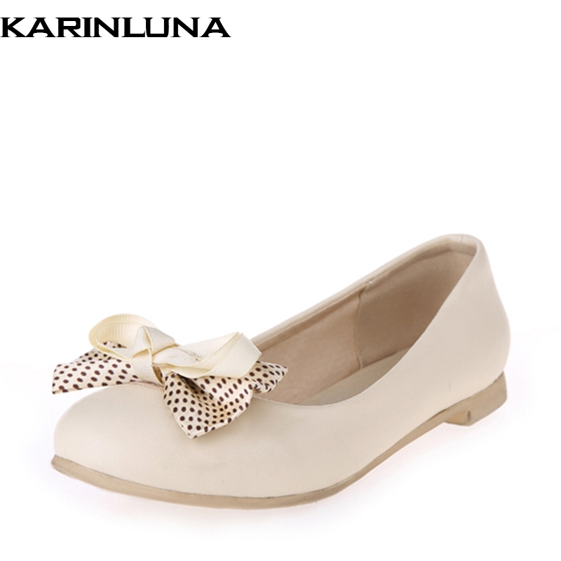 KARINLUNA Spring Autumn Sweet Plus Size 33-44 Polka Dot Bow Solid Ballet Flats Round Toe Shallow Casual Women Shoes plus size 34 41 black khaki lace bow flats shoes for womens ds219 fashion round toe bowtie sweet spring summer fall flats shoes