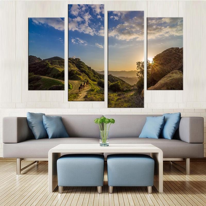 4 mūsdienu saulrieta akmens klinšu ainavu gleznojums dekoratīvā - Mājas dekors - Foto 4