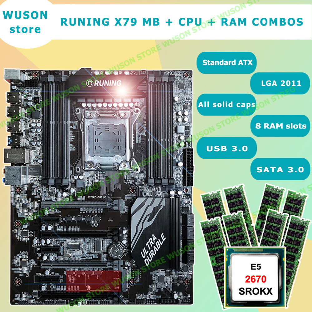Featured brand Runing Super X79 LGA2011 motherboard support max 8*16G 1866 memory <font><b>Xeon</b></font> <font><b>E5</b></font> <font><b>2670</b></font> <font><b>C2</b></font> 32G(8*4G) 1333MHz DDR3 RECC image