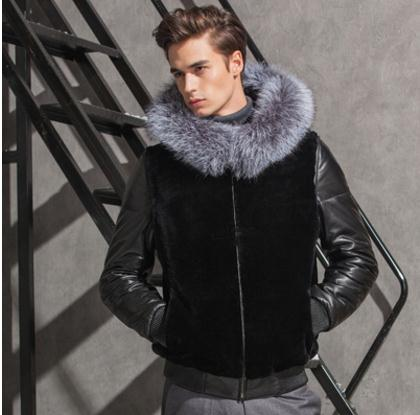 S/6Xl Male Hooded Patchwork Leather Fake Fur Jackets Warm Winter Autumn Fur Outwears Men ...