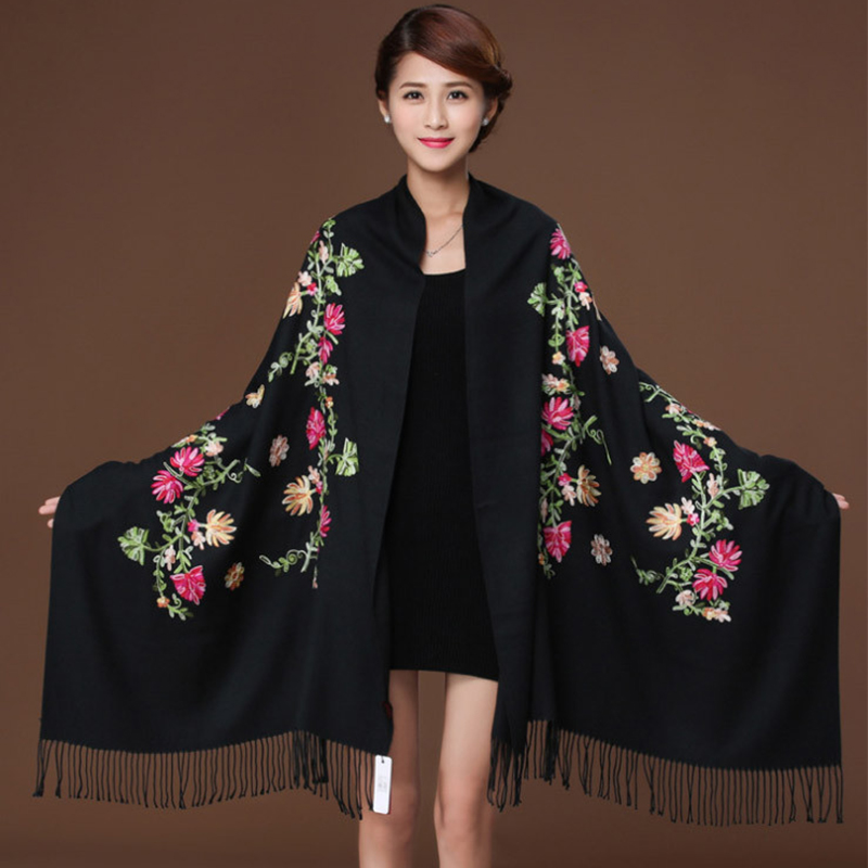 New Black Embroider Flower Women Pashmina Hijab Scarf Winter Warm Jacquard Chal Long Tassels Shawl Floral Muffler Scarves