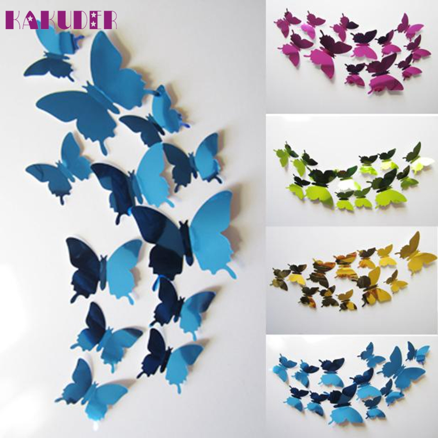 KAKUDER 12pcs/set Mirror Wall Stickers Decal Butterflies 3D Mirror Wall Art Home Decors Butterfly Fridge Wall Decal on sale #N04 ...
