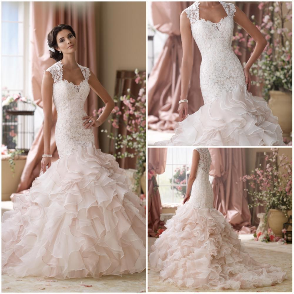 552014 New Custom Cap Sleeve Light Pink Lace Ruffles Organza ...
