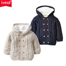 IYEAL Baby Boys Hooded Cardigan Jacket Long Sleeve Fleece Lined Knitted Sweater Kids Toddler Girls Winter Warm Outerwear 0-2 Y