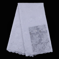 5yards Pc Pure White African Voile Lace Fabric Delicate Embroidered Swiss Lace Fabric For Making