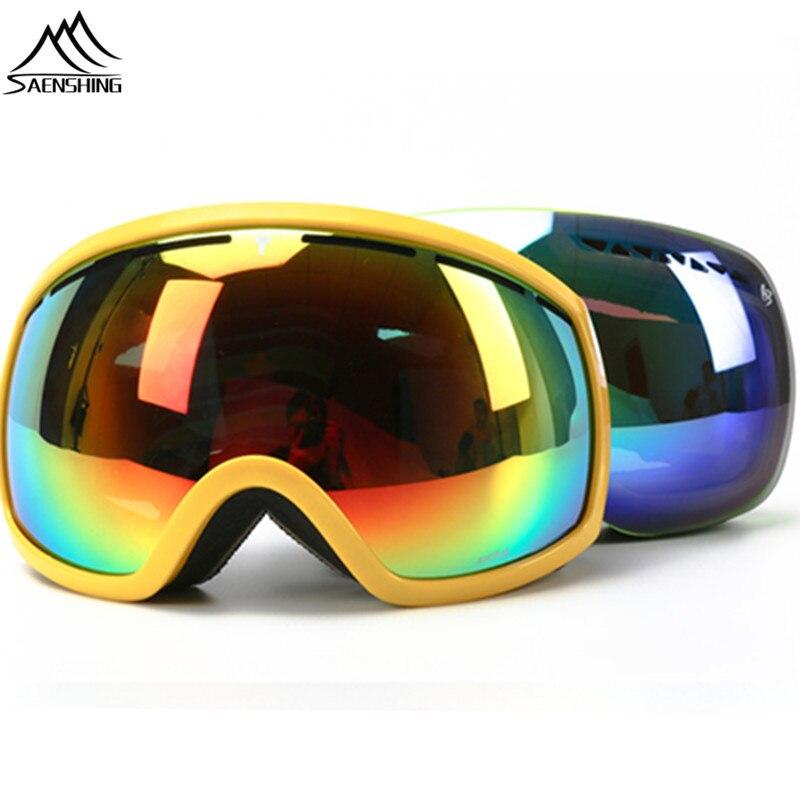 Saenshing сноуборд очки зимние лыжные Очки двойные линзы Лыжный Спорт Мотокросс Открытый Анти-туман снег Googles Сноубординг очки