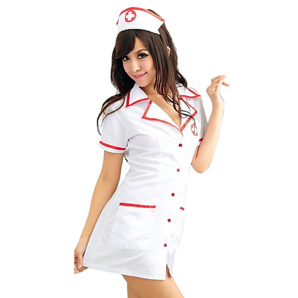 Sexy Nurse Costume Set 2018 Women Sexy Lingerie Hot White Nurse Uniform Cosplay For Women Erotic Costume Tempt V-Neck Dress 50