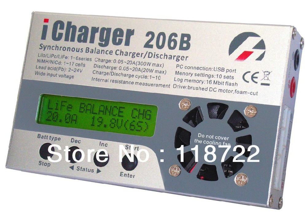 iCharger 206B charger for RC MODEL/Model Planes/model air craft 1-6 series (In non-balance mode, expand LiFe to 8s) 20A 300W 8S