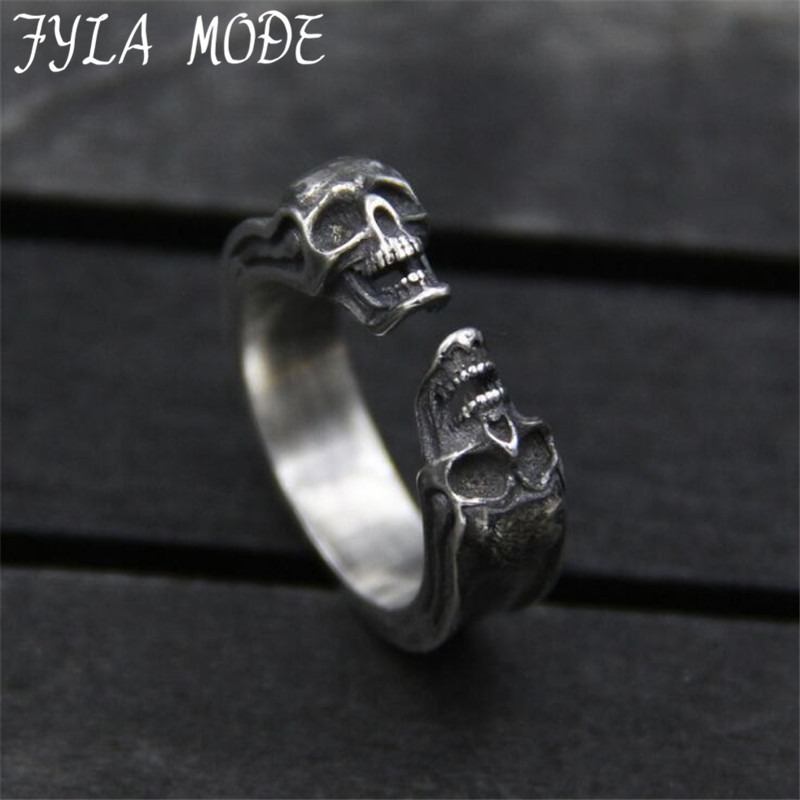S925 Sterling Silver Cool Anel Vintage Jewelry Metalwork Midi Rings Men Pure Silver Punk Bijoux Dainty Double Skull Ring 6.50mm