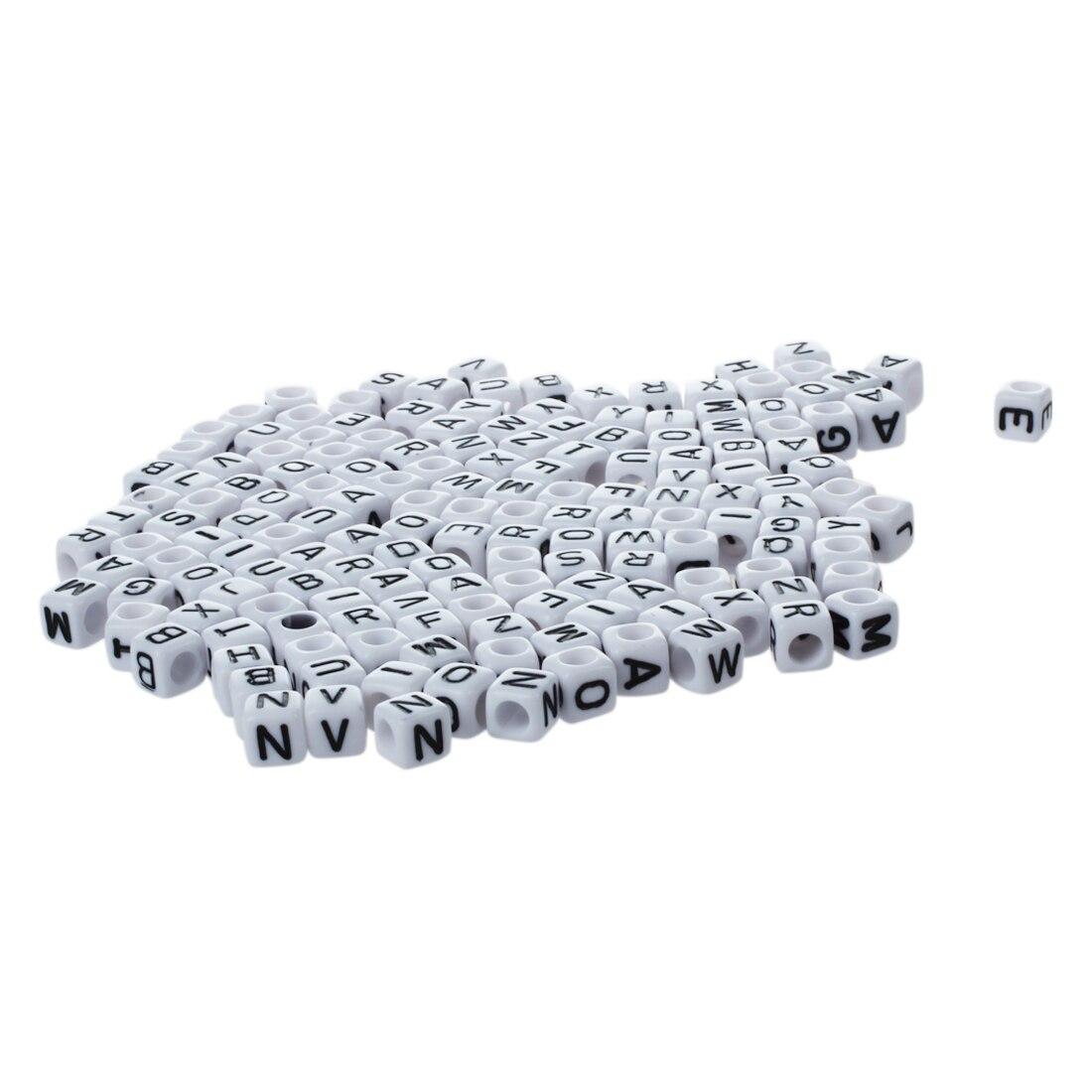 290pcs/50g Acrylic Beads ALPHABET black and white CUBE A-Z mixture 6*6mm