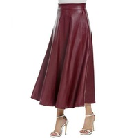 Spring Autumn PU Leather Skirt Women Saia Faldas Maxi Long Skirts Womens High Waist Slim Autumn Vintage Pleated Skirt Black