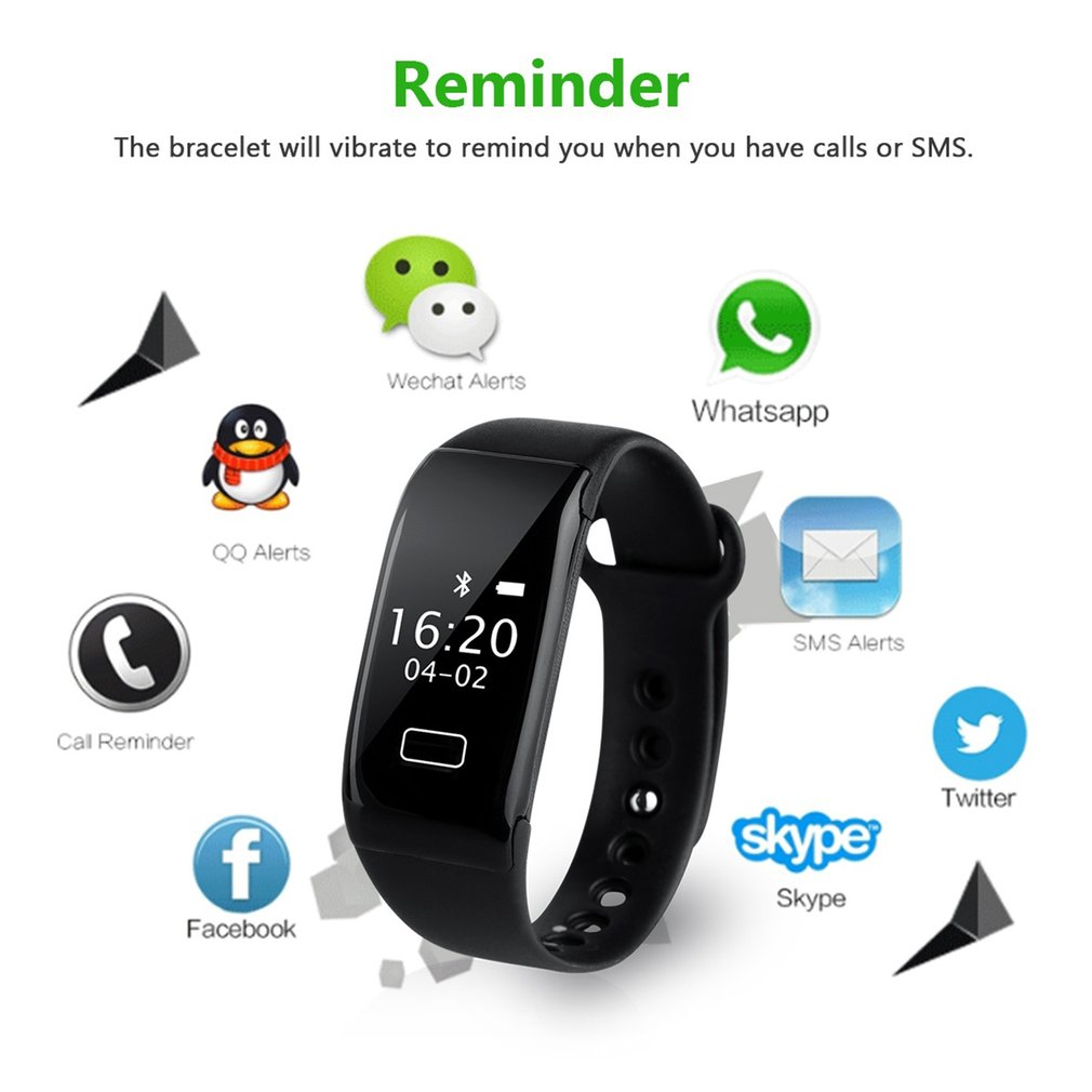 K18S Bluetooth Smartwatch Silicone Wristband Heart Rate Sleep Monitor Waterproof Sport Pedometer Fitness Bracelet Smart Watch