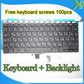 """A Estrenar Para MacBook Pro 13.3 """"A1278 RU Ruso teclado Retroiluminado teclado + Backlight + 100 unids tornillos 2008-2012 Años"""