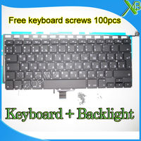 Brand New For MacBook Pro 13 3 A1278 RU Russian Keyboard Backlight Backlit 100pcs Keyboard Screws