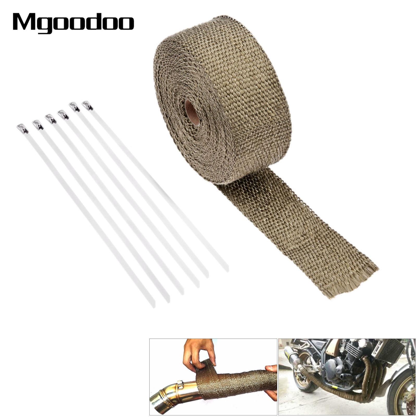 10M Motorcycle Motocross Thermal Exhaust Pipe Header Heat Wrap Tape Resistant Durable Stainless Steel Ties Kit Titanium Gold