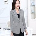 Hot Women elegant Plaid Blazer Long Sleeve One Button Fashion Lady WorkWear slim OL Office Suit female Coat Jacket Outwear Tops