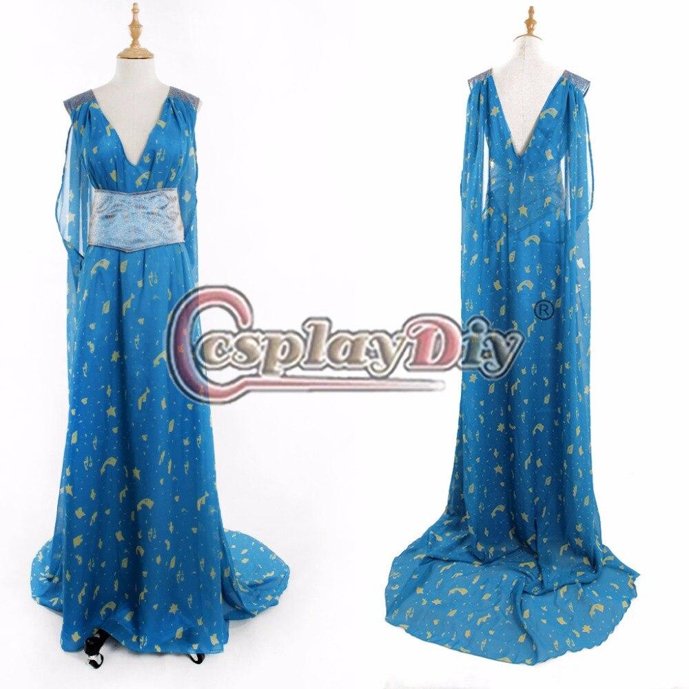 Cosplaydiy  Game of thrones 5 Daenerys Targaryen Blue Dress Cosplay Costume For Halloween Custom Made