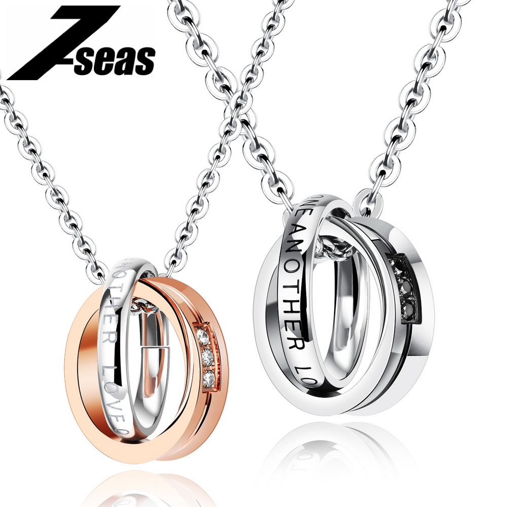 Romantic Love One Another Couple Necklaces For Lovers Full Stainless Steel Promise Love Women Men Couple