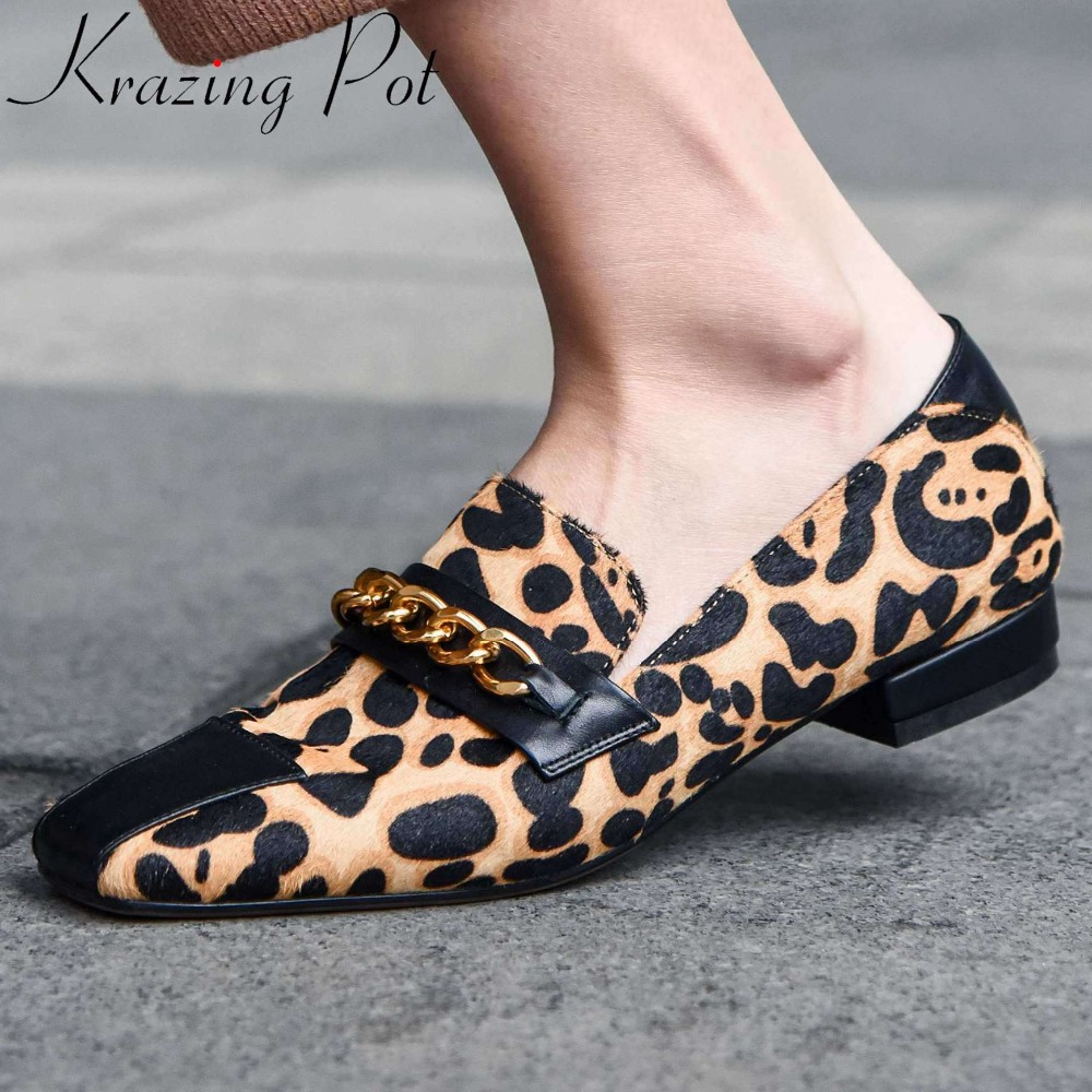 Krazing Pot Luxury Horsehair Genuine Leather Low Heels Popular Sexy Leopard Classic Square Toe Slip On Metal Chain Pumps L40