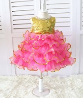 Tiered ruffles Cupcake Gold sequined rose Pink kid Pageant Dress glitz Easter girl outfit Toddler Baby Birthday party Dresses