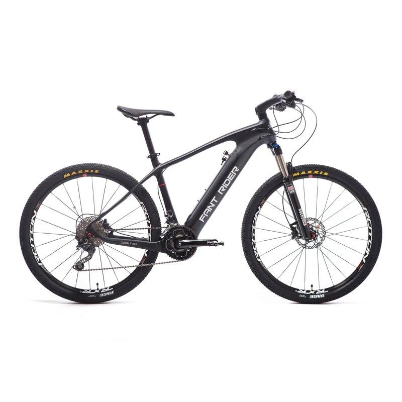 Fiber de carbone vélo de montagne électrique 27.5 pouces en Fiber de Carbone Hybride Intelligent Lithium PAS Moyen Moteur VTT DEROE EBike Ville