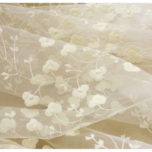 Window Treatments Screening Sheer Korean Embroidery Luxury Flowers Lace Finished Curtains For Living Room Bedroom AP208-15