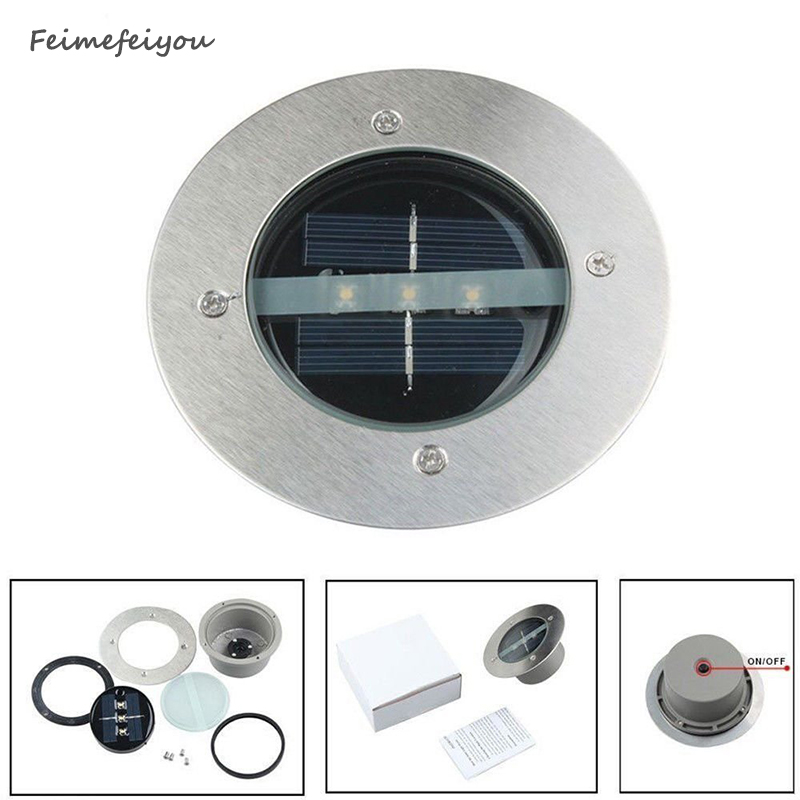 Feimefeiyou utomhusbelysning Solar Powered Panel LED Golvlampor Däcklampa 3 LED Underground Light Garden Pathway Spot Lights
