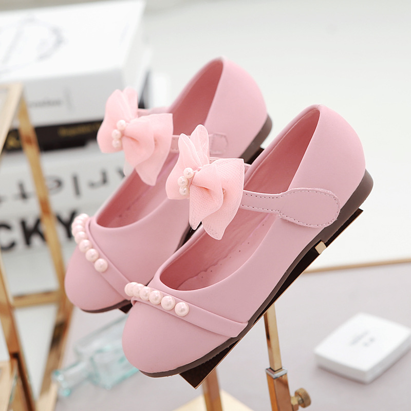 ФОТО 2016 latest fall children 's shoes  girls pearl princess pink&gray Soft bottom leather shoes new free shipping
