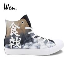 Wen Design Shokugeki no Soma Yukihira Souma Hand Painted Anime Shoes Men Black High Top Canvas Sneakers Women Athletic Shoes