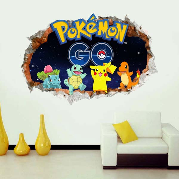 2016 New arrival font b Minecraft b font Pokemon Go Pokeball Cute pikachu Wall Stickers Kids