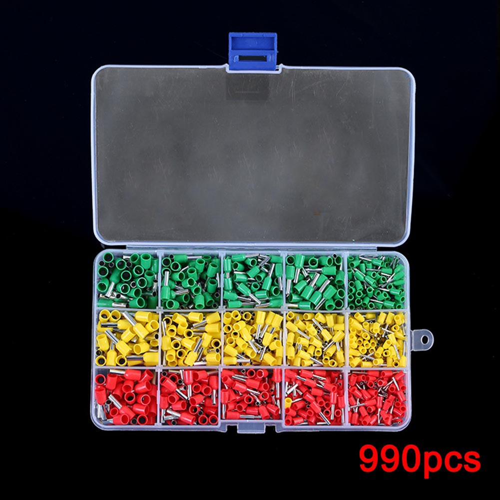 990pcs Electrical Wire Connector Crimp Ferrules Terminals Assortment Kit Cable End Wire Pin Terminal ALI88 1000pcs dupont jumper wire cable housing female pin contor terminal 2 54mm new