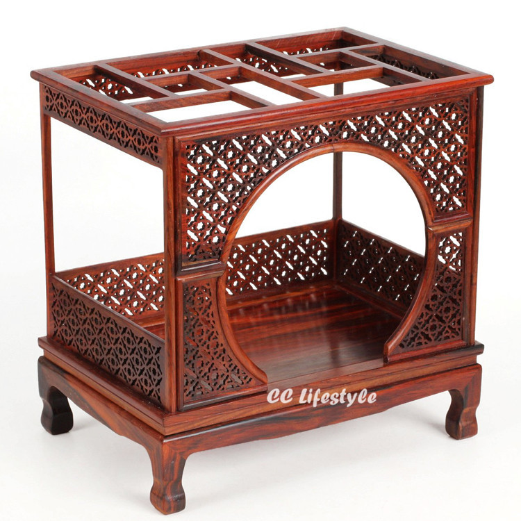 Chinese Living Room Furniture: Miniature Qing Dynasty Rosewood Livingroom Crescent Bed