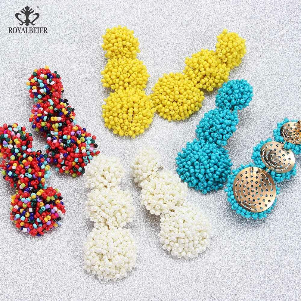 ROYALBEIER New Fashion Bohemian Geometric Earrings Ethnic Style Rice Beads Beading Bijoux Wedding Party Drop Jewelry Wholesale